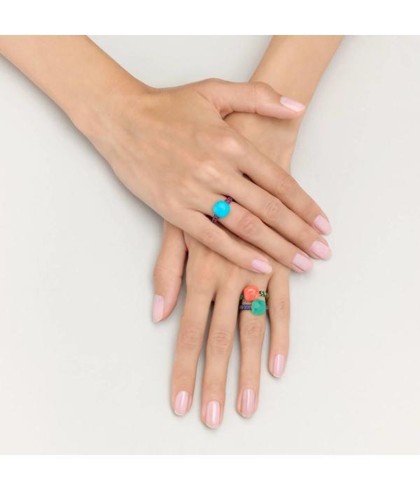 Pomellato Capri Ring Gold 18 Carat Rose Gold Capri chrysopraas Blue sapphire