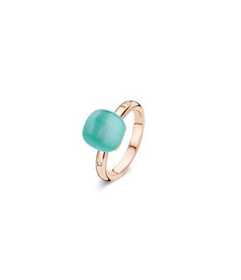 Bigli Ring Mini Sweety triplette bergkristal/ groen agaat/parelmoer 20R88Rcragvermp