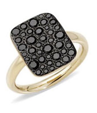 Pomellato Ring Sabbia zwart vierkant