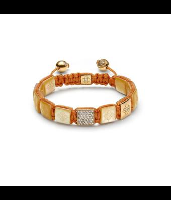 Shamballa Fantasie armband Lock Bracelet 10mm yellow mother of pearl
