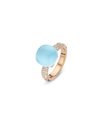 Bigli Ring Mini Sweety rutielkwarts/blauw agaat/parelmoer