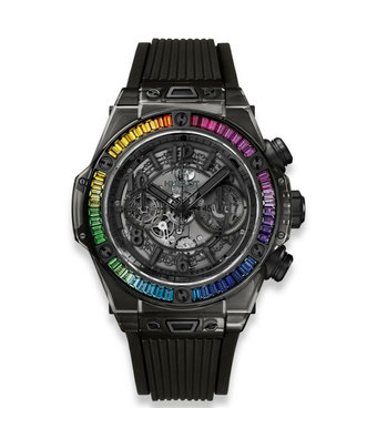 Hublot Horloge Big Bang Unico 45mm All Black Sapphire Rainbow Chronograph 411.JB.4901.RT.4099