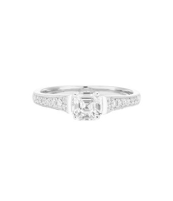 Royal Asscher Solitair ring 74 Collection solitair pave