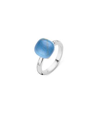 Bigli Ring Mini Sweety 10mm triplettte rutielkwarts/ blauw agaat/parelmoer