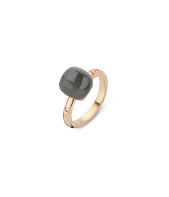 Bigli Ring Mini Sweety 10mm doublette grijs adularia/parelmoer