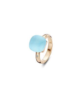 Bigli Ring Mini Sweety 12mm triplette blauw topaas/parelmoer/turquoise