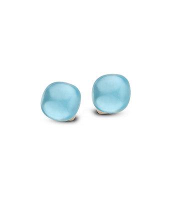 Bigli Oorknoppen Mini Sweety 10mm triplette blauw topaas/parelmoer/turquoise