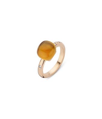 Bigli Ring Mini Sweety 10mm doublette madeira citrien/parelmoer