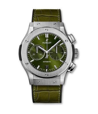 Hublot Horloge Classic Fusion 45mm Chronograph Titanium Green 521.NX.8970.LR