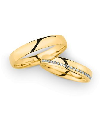 Christian Bauer Wedding Rings 14 Carat Yellow Gold 21 Brilliants [246964 / 20040]