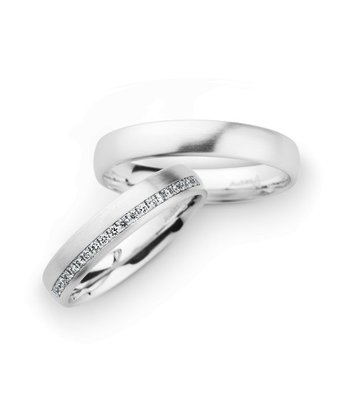 Christian Bauer Wedding Rings 14 Carat White Gold 20 Brilliants [246961 / 20040]