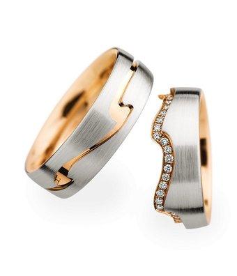 Christian Bauer Wedding Rings 18 Carat Rose Gold 48 Brilliants [0246805 / 0274118]