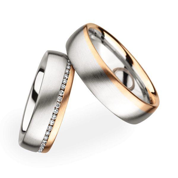 Wedding Rings 18 Carat Rose Gold 50 Brilliants