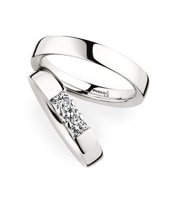 Christian Bauer Wedding Rings 950 Platina 3 Brilliants [243608 / 280001]