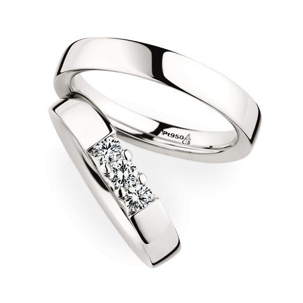 Wedding Rings 950 Platina 3 Brilliants