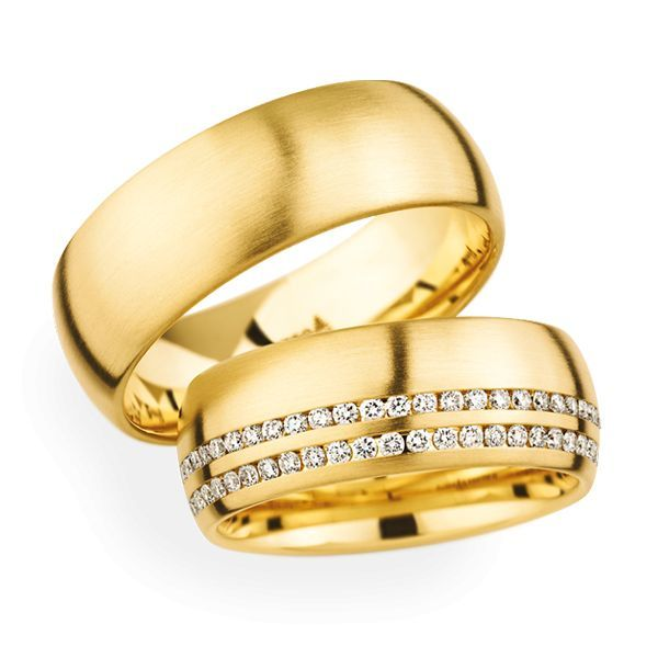 Wedding Rings 18 Carat Yellow Gold 59 Brilliants