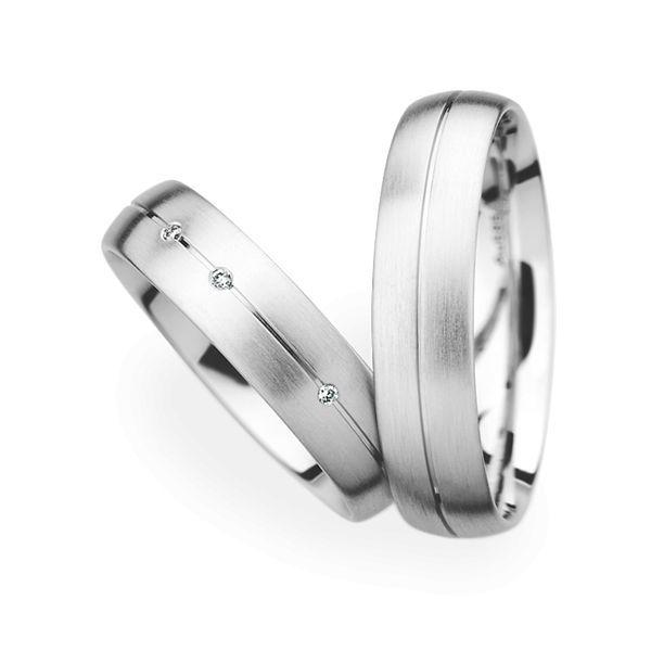 Wedding Rings 14 Carat White Gold 3 Brilliants