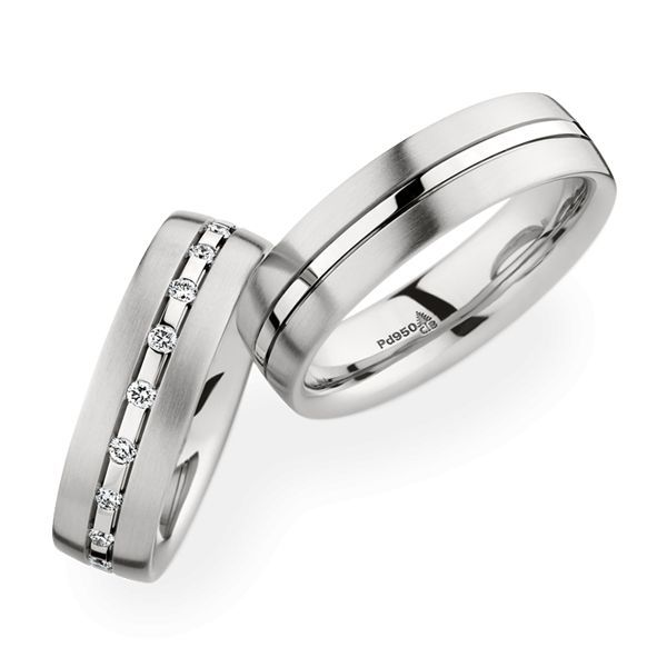 Wedding Rings 950 Palladium 20 Brilliants