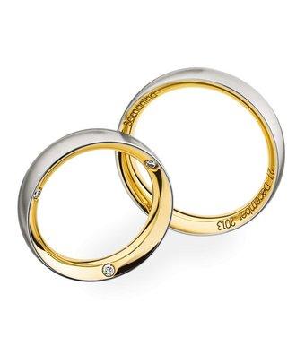 Christian Bauer Wedding Rings 950 Platina 18 Krt. Yellow Gold 3 Brilliants