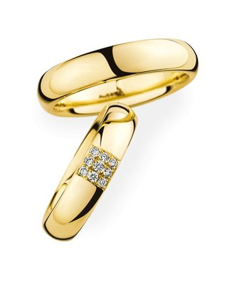 Christian Bauer Wedding Rings 14 Carat Yellow Gold 9 Brilliants [245404 / 270523]