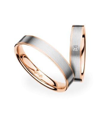 Christian Bauer Wedding Rings 14 Carat Rose Gold and White Gold 1 Diamond Princess [241271 / 273622]