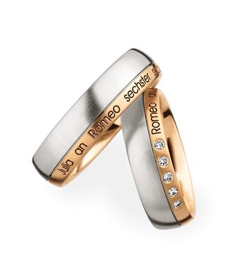 Christian Bauer Wedding Rings 950 Platina 18 Krt. Rose Gold 5 Brilliants [244576 / 273654]