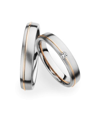 Christian Bauer Wedding Rings 14 Carat White Gold and Rose Gold 1 Brilliant [241270 / 273621]