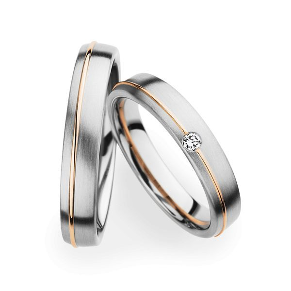 Wedding Rings 14 Carat White Gold and Rose Gold 1 Brilliant