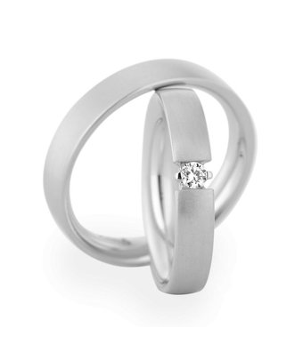 Christian Bauer Wedding Rings 14 Carat White Gold 1 Brilliant [241510 / 270970]
