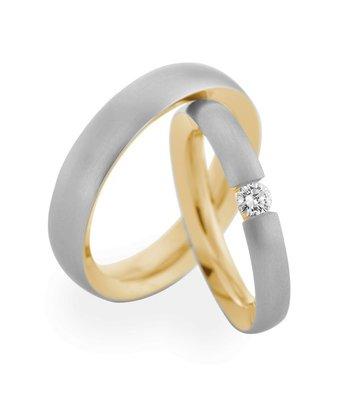 Christian Bauer Wedding Rings 950 Platina 18 Krt. Yellow Gold 1 Brilliant [241551 / 273720]