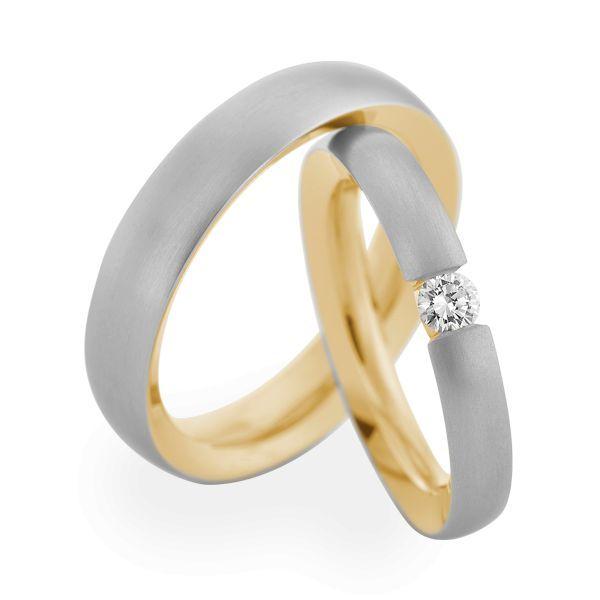 Wedding Rings 950 Platina 18 Carat Yellow Gold 1 Brilliant