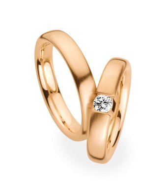 Christian Bauer Wedding Rings 14 Carat Rose Gold 1 Brilliant [241550 / 280006]