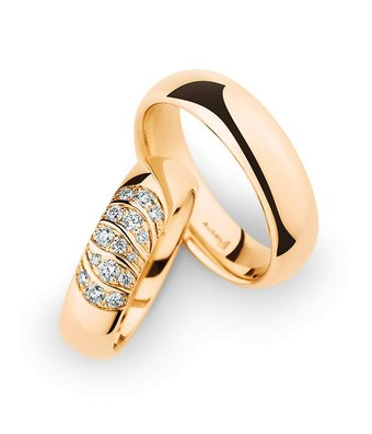 Christian Bauer Wedding Rings 14 Carat Rose Gold 15 Brilliants [246959 / 280091]