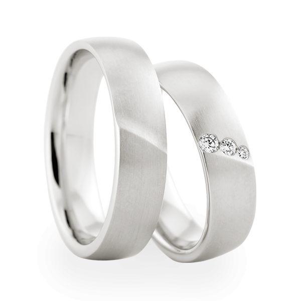 Wedding Rings 18 Carat White Gold 3 Brilliants