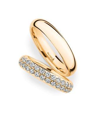 Christian Bauer Wedding Rings 18 Carat Rose Gold 32 Brilliants [0246948 / 0280097]