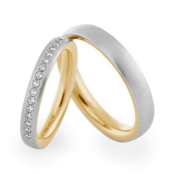Wedding Rings 950 Platina / 18 Carat Yellow Gold 16 Brilliants