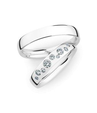 Christian Bauer Wedding Rings 14 Carat White Gold 9 Brilliants [0245432 / 0280092]