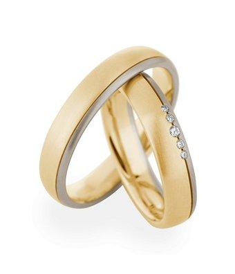 Christian Bauer Wedding Rings 14 Carat Yellow Gold / White Gold 5 Brilliants [244575 / 273639]