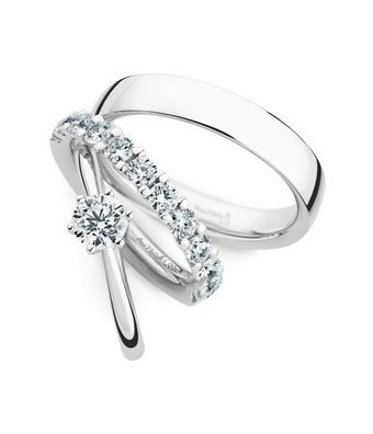 Christian Bauer Wedding Rings 18 Carat White Gold 12 Brilliants [0245435 / 640105 / 0280095]