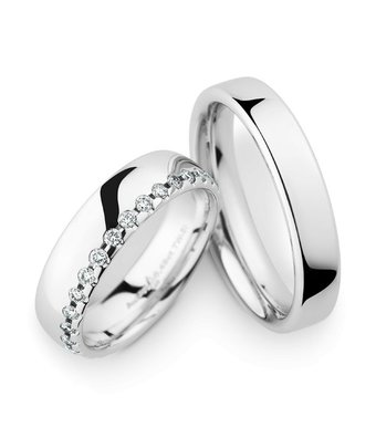 Christian Bauer Wedding Rings 14 Carat White Gold 30 Brilliants [246936 / 270541]