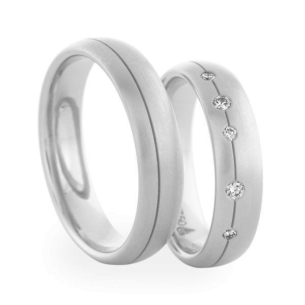 Wedding Rings 950 Palladium 5 Brilliants