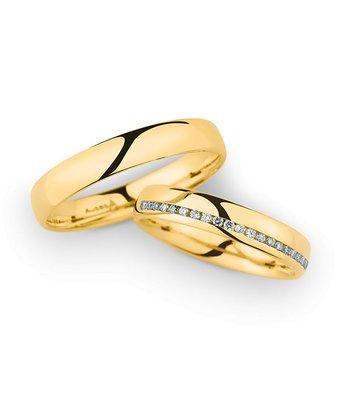 Christian Bauer Wedding Rings 14 Carat Yellow Gold 21 Brilliants [246964 / 20040]