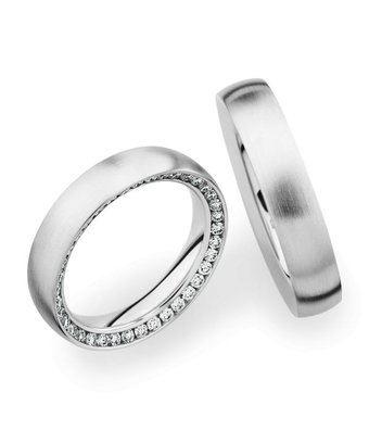 Christian Bauer Wedding Rings 18 Carat White Gold 37 Brilliants [0246822 / 0280002]