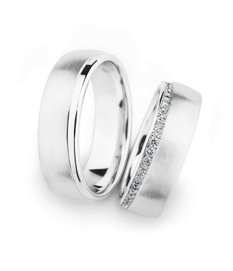 Christian Bauer Wedding Rings 14 Carat White Gold 21 Brilliants [246907 / 274311]