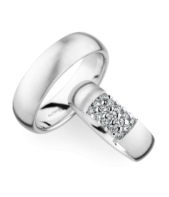 Christian Bauer Wedding Rings 18 Carat White Gold 15 Brilliants [0246787 / 0270979]