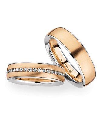 Christian Bauer Wedding Rings 950 Platina 18 Krt. Rose Gold 40 Brilliants [246824 / 274161]