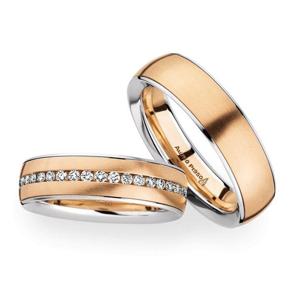 Bi-colour trouwringen in platina en rosé goud