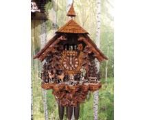 Hettich Uhren Orginal Schwarzwälder Kuckucksuhr mit 8 Tage Musik-Tänzer- Rechenschlagwerk mit beweglichen Jäger und Tanzfiguren sowie auch das Mühlrad 75 cm hoch - Copy - Copy
