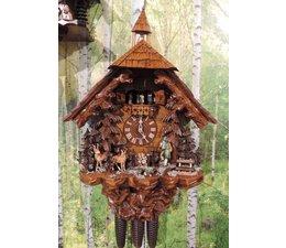 Hettich Uhren Original à la main dans la Forêt Noire Forêt Noire coucou style de 75cm de haut avec chasseur mobile -Tanzfiguren et roue du moulin - Copier - Copie