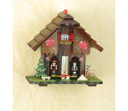Trenkle Uhren Weer in het Zwarte Woud gemaakt van hout, de cijfers tonen het weer en dus hoe een weer huis: Binnen het huisje weer een gut snaar, welke veranderingen in de luchtvochtigheid verandert reagiert.Dabei is hij